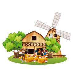 Farmers and hens in the farm vector