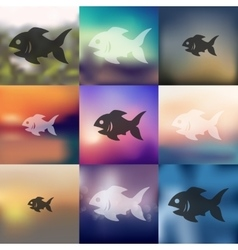 Fish icon on blurred background vector