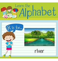 Flashcard letter R is for river vector image vector image