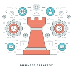 Flat line business strategic management vector