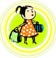 Girl shopping cartoon vector