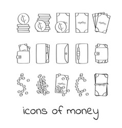 Hand draw money icons collection of linear signs vector
