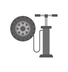Hand pump with car wheel pressure air instrument vector