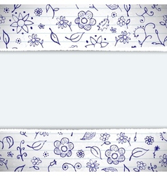 Hands drawn sketchy floral doodles background vector image