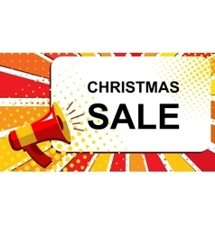 Megaphone with christmas sale announcement flat vector