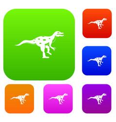 ornithopod dinosaur set color collection vector image vector image