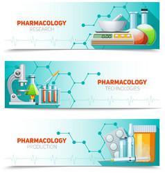 Pharmacology 3 horizontal banners set vector