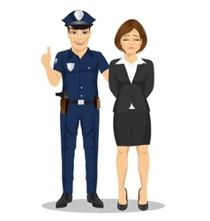 Policeman arresting businesswoman vector image vector image