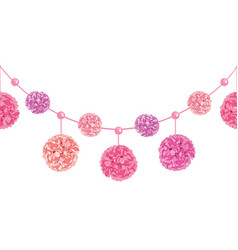 Set of dangling pink birthday party paper vector