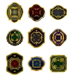 Set of golden decorative ornate golden-framed vector image