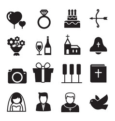 Silhouette icons wedding bride and groom love vector