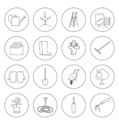 Thin line icons gardening equipment vector