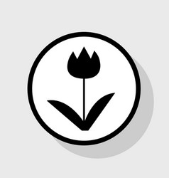 tulip sign flat black icon in white vector image vector image