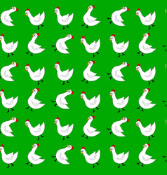 White chicken seamless pattern vector