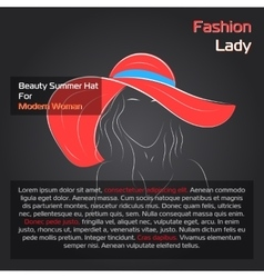 Woman in red hat on black vector