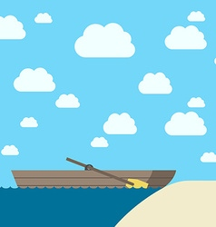 Wooden boat near coast vector