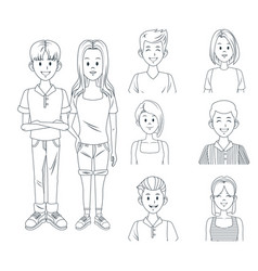 young friends cartoon vector image vector image