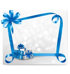 Holiday background with blue gift boxes vector