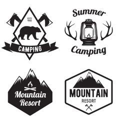 Set of mountain and outdoor adventures logo vector