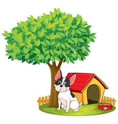 A doghouse and a dog under a tree vector