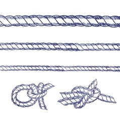 Sea knot rope set hand draw sketch vector
