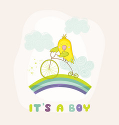 Cute parrot riding a bike baby shower card vector