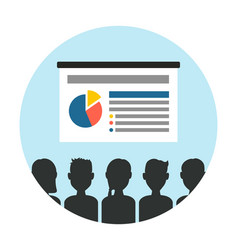 presentation slide with audience circle vector image