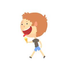 Funny smiling cartoon boy eating ice cream vector
