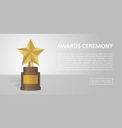 Golden star award on brown base gold trophy banner vector