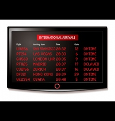 Lcd airport arrivals vector