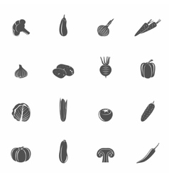 Vegetables icons black set vector