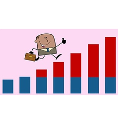 Businessman on graph vector image