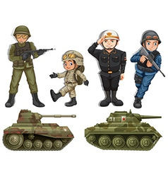 A group of soldiers vector