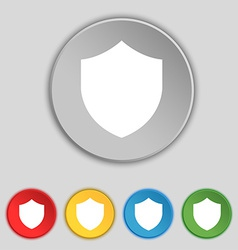 Shield protection icon sign symbol on five flat vector