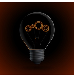 Lightbulb with gear sign on a dark background vector