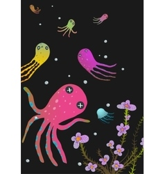 Colorful octopus on black cartoon greeting card vector