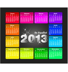 Colorful calendar 2013 in spanish vector image