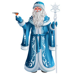 blue russian grandfather frost russian santa vector image vector image