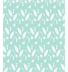 Bohemian feathers and arrows seamless pattern vector