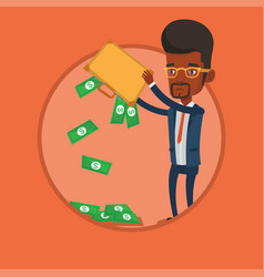 Businessman shaking out money from his briefcase vector