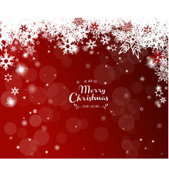 christmas red background with white snowflakes vector image vector image