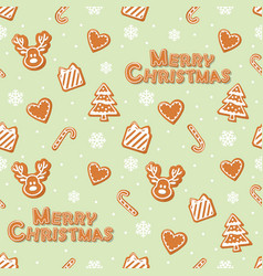 Christmas seamless pattern gingerbread cookies vector