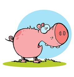 Chubby Pink Pig Snacking On Grass vector image vector image