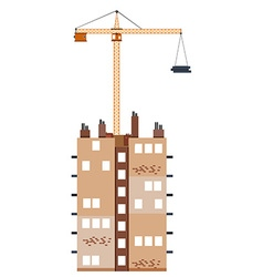 Construction building with crane vector