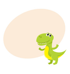 cute and funny smiling baby tyrannosaurus vector image