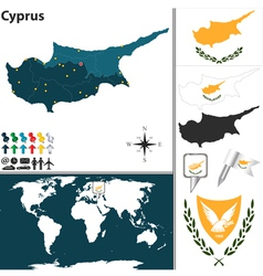 Cyprus map world vector
