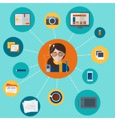 Designer with objects vector image vector image