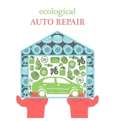 Eco Car Repair Services concept with car icons and vector image