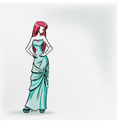 Elegant woman in long evening dress vector image vector image