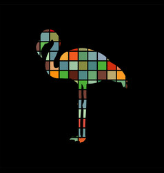 Flamingo bird color silhouette animal vector